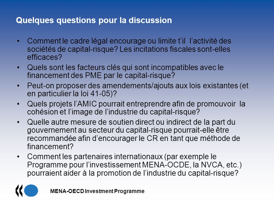 Quelques questions pour la discussion