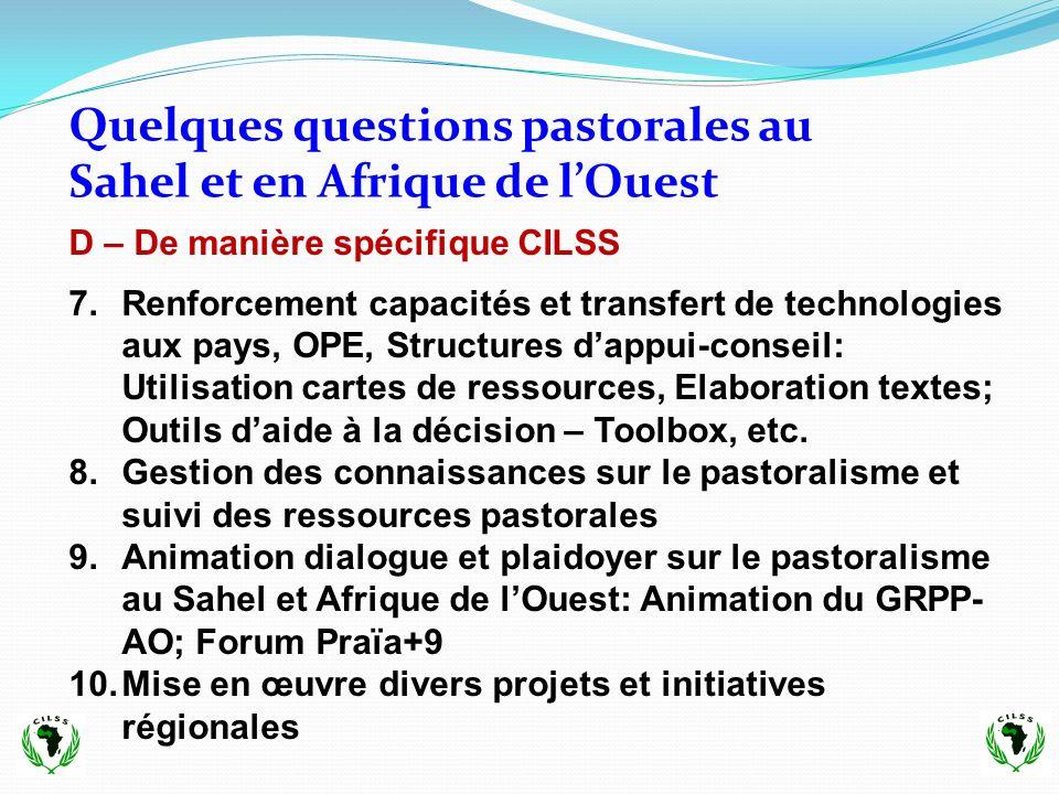 Quelques questions pastorales au Sahel et en Afrique de l'Ouest