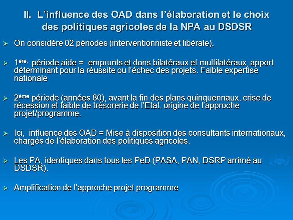 II. L'influence des OAD dans l'élaboration et le choix des politiques agricoles de la NPA au DSDSR