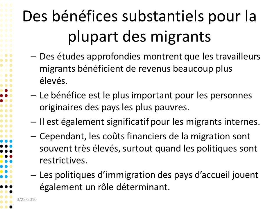 Des bénéfices substantiels pour la plupart des migrants