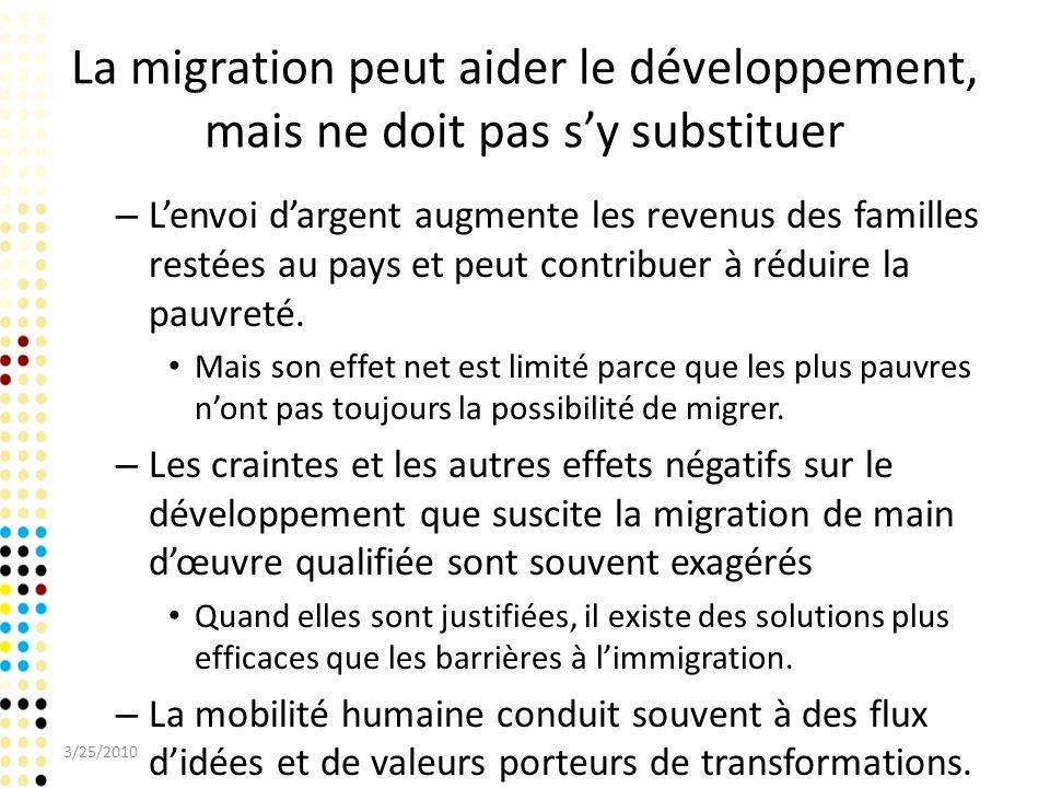 La migration peut aider le développement, mais ne doit pas s'y substituer