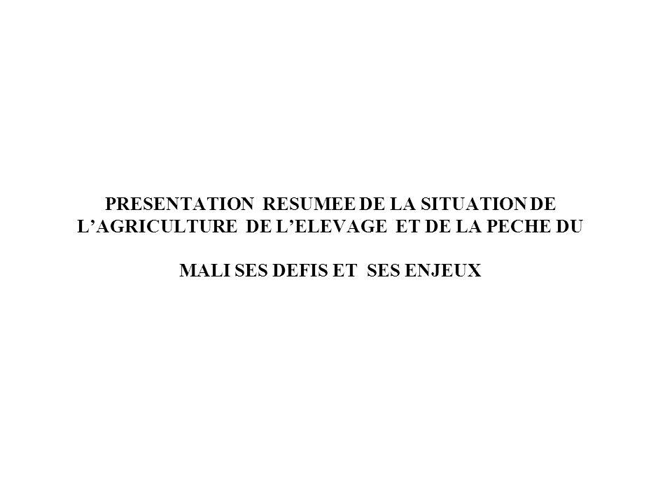 PRESENTATION RESUMEE DE LA SITUATION DE L'AGRICULTURE DE L'ELEVAGE ET DE LA PECHE DU MALI SES DEFIS ET SES ENJEUX