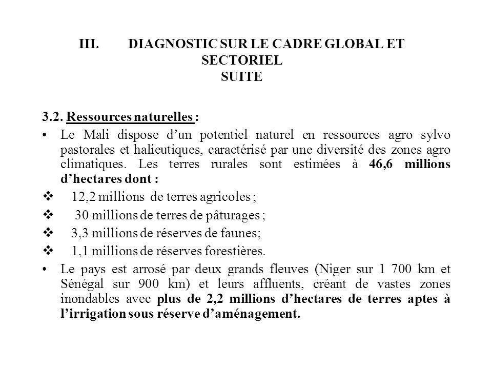 III. DIAGNOSTIC SUR LE CADRE GLOBAL ET SECTORIEL SUITE