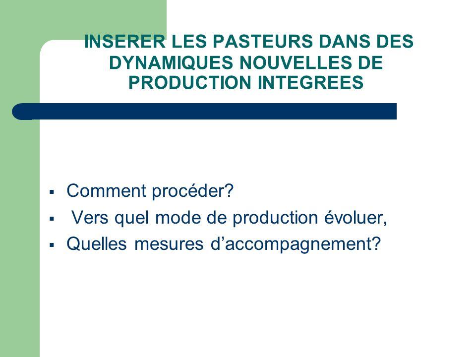INSERER LES PASTEURS DANS DES DYNAMIQUES NOUVELLES DE PRODUCTION INTEGREES