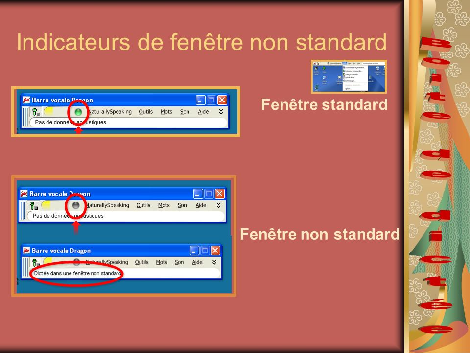 Indicateurs de fenêtre non standard