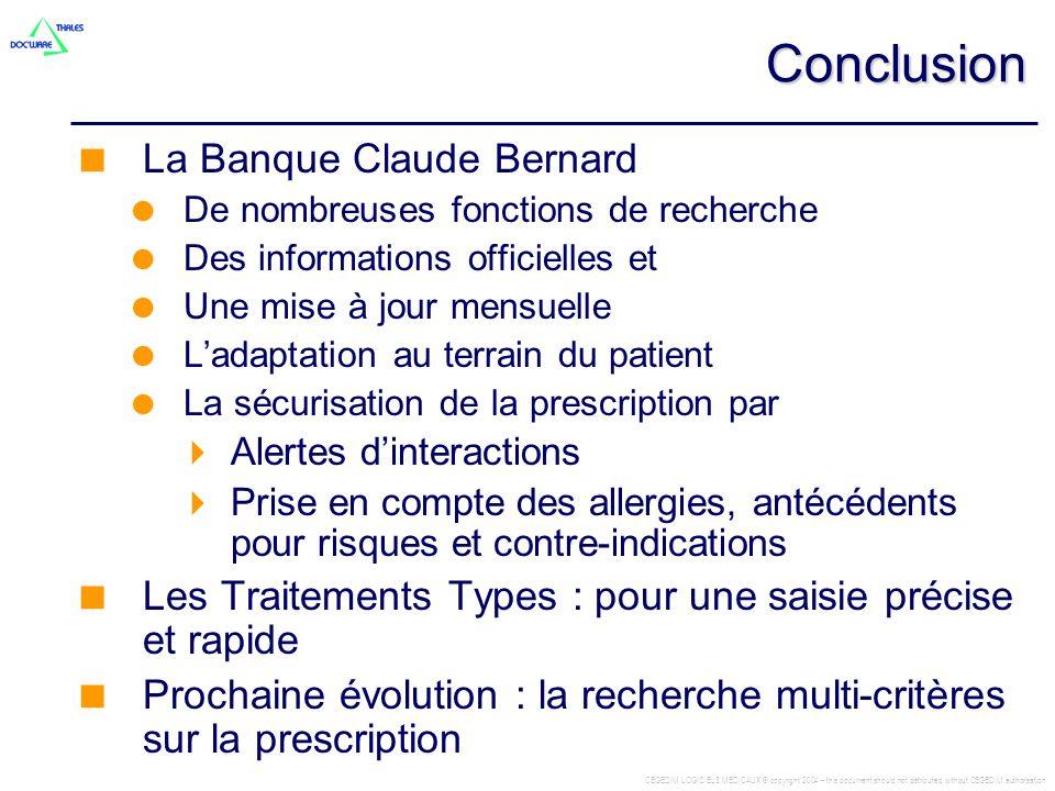 Conclusion La Banque Claude Bernard