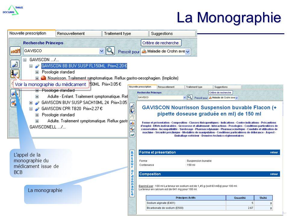 La Monographie L'appel de la monographie du médicament issue de BCB