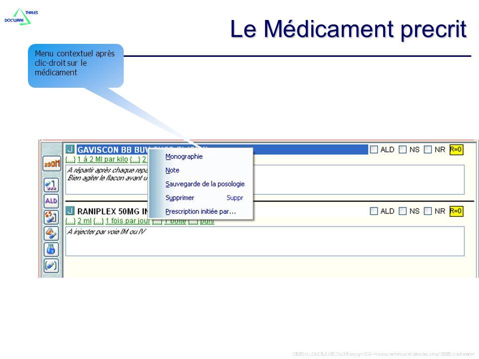 Le Médicament precrit Menu contextuel après clic-droit sur le médicament