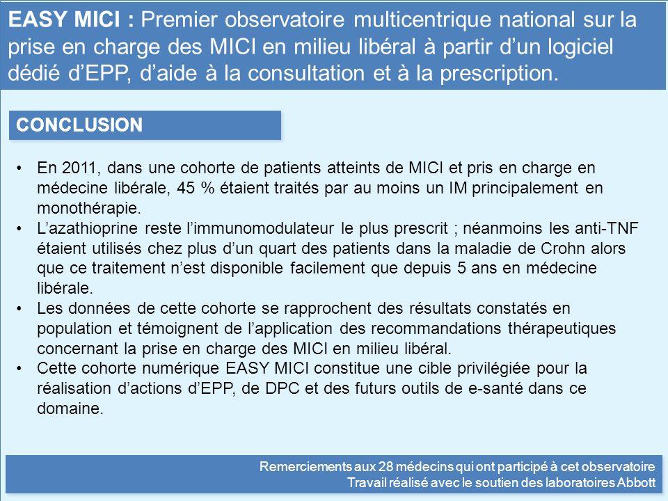 EASY MICI : Premier observatoire multicentrique national sur la prise en charge des MICI en milieu libéral à partir d'un logiciel dédié d'EPP, d'aide à la consultation et à la prescription.