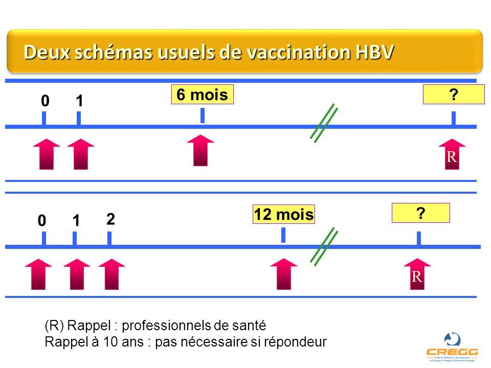 Deux schémas usuels de vaccination HBV