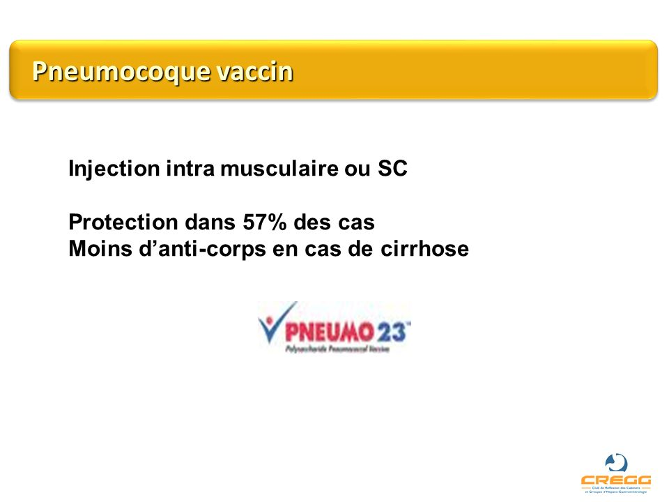 Pneumocoque vaccin Injection intra musculaire ou SC
