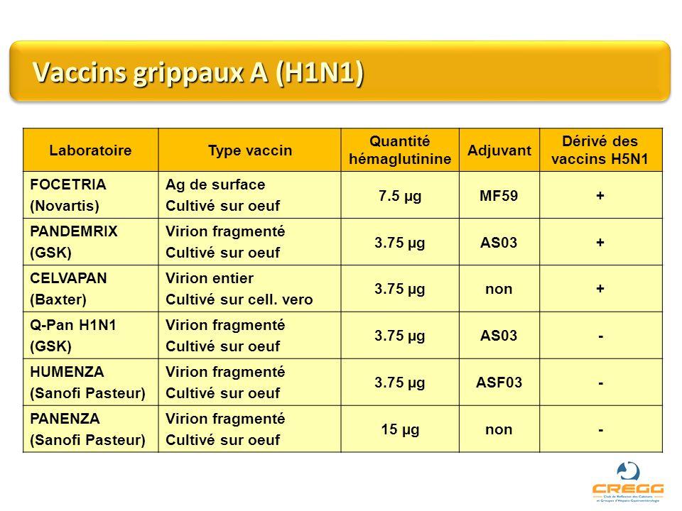 Vaccins grippaux A (H1N1)