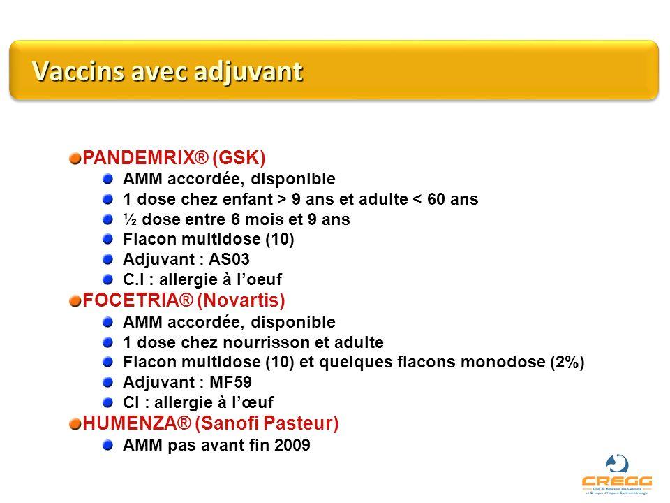 Vaccins avec adjuvant PANDEMRIX® (GSK) FOCETRIA® (Novartis)