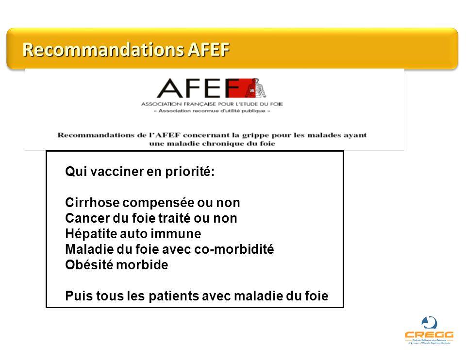 Recommandations AFEF Qui vacciner en priorité:
