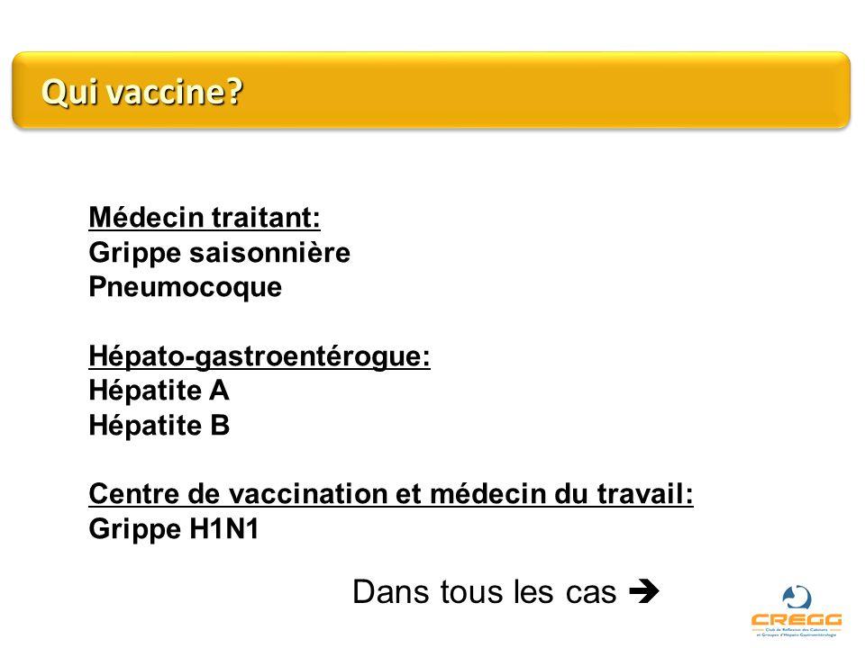Qui vaccine Dans tous les cas  Médecin traitant: Grippe saisonnière