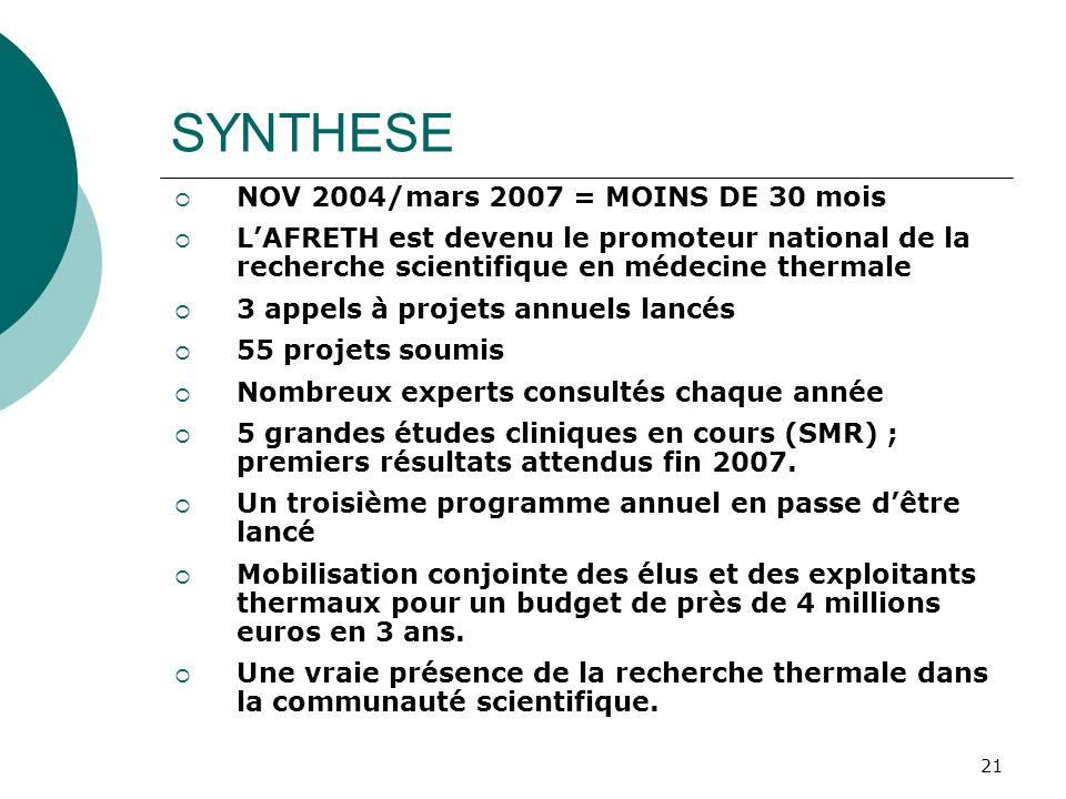 SYNTHESE NOV 2004/mars 2007 = MOINS DE 30 mois