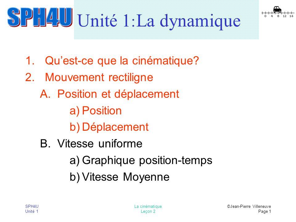 Unité 1: La dynamique Qu'est-ce que la cinématique