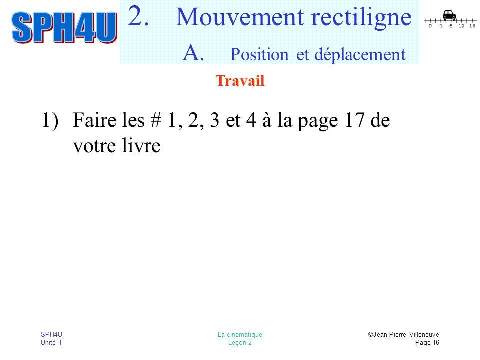 2. Mouvement rectiligne A. Position et déplacement