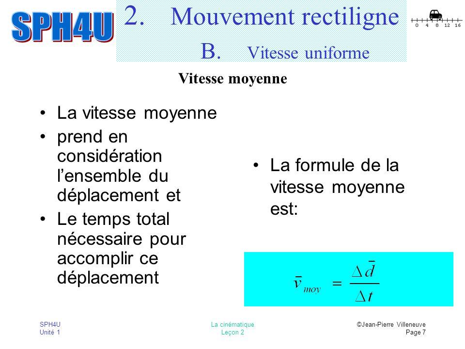 2. Mouvement rectiligne B. Vitesse uniforme