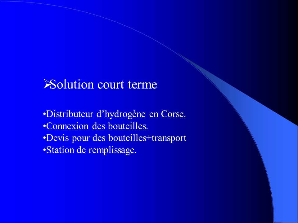 Solution court terme Distributeur d'hydrogène en Corse.