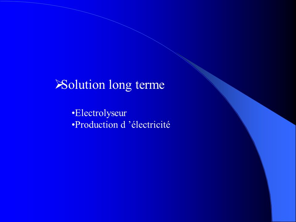 Solution long terme Electrolyseur Production d 'électricité