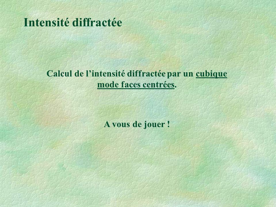 Calcul de l'intensité diffractée par un cubique mode faces centrées.