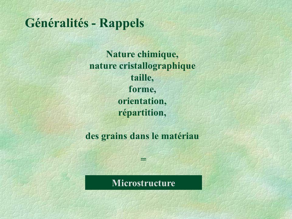 nature cristallographique des grains dans le matériau
