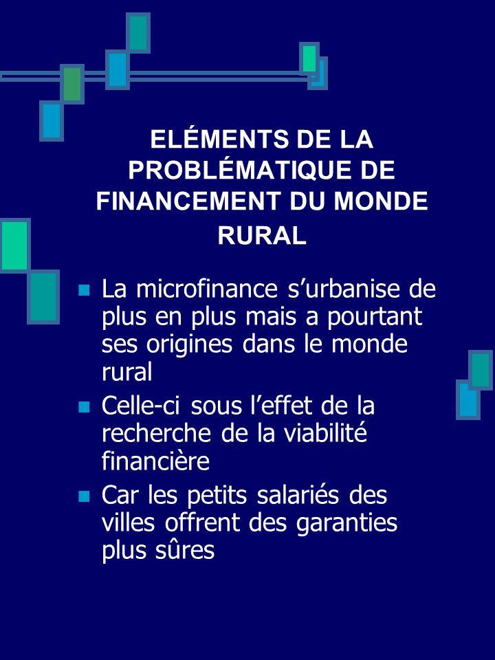ELÉMENTS DE LA PROBLÉMATIQUE DE FINANCEMENT DU MONDE RURAL