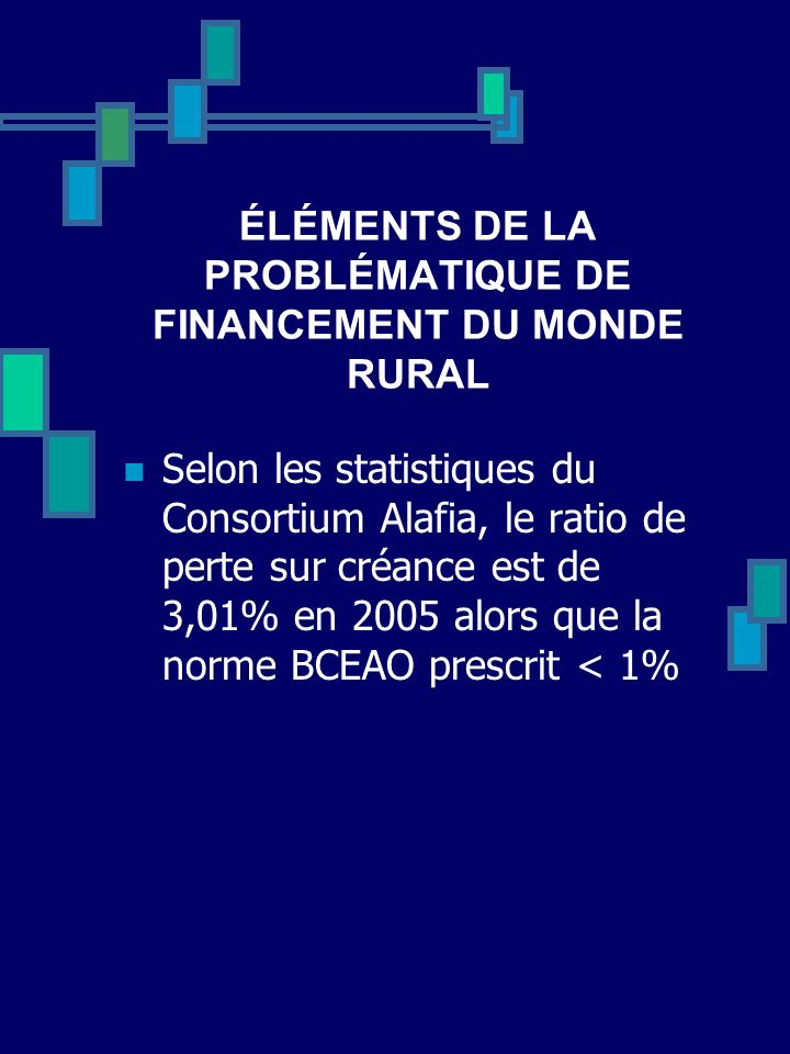 ÉLÉMENTS DE LA PROBLÉMATIQUE DE FINANCEMENT DU MONDE RURAL