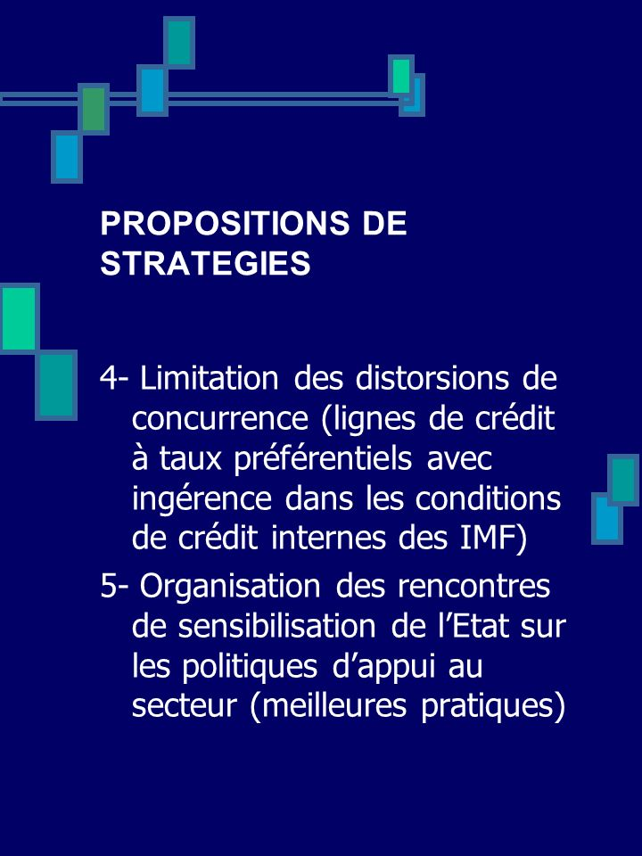 PROPOSITIONS DE STRATEGIES