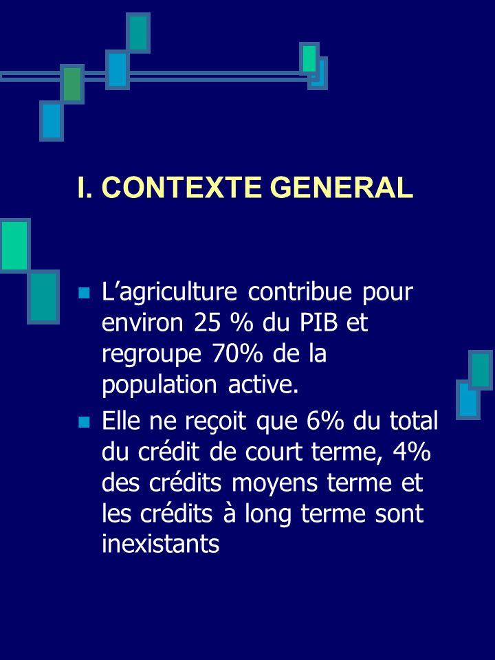 I. CONTEXTE GENERAL L'agriculture contribue pour environ 25 % du PIB et regroupe 70% de la population active.