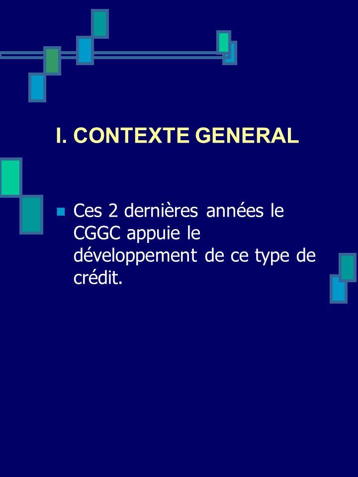 I. CONTEXTE GENERAL Ces 2 dernières années le CGGC appuie le développement de ce type de crédit.