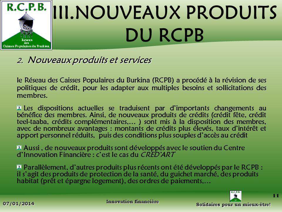 III.NOUVEAUX PRODUITS DU RCPB