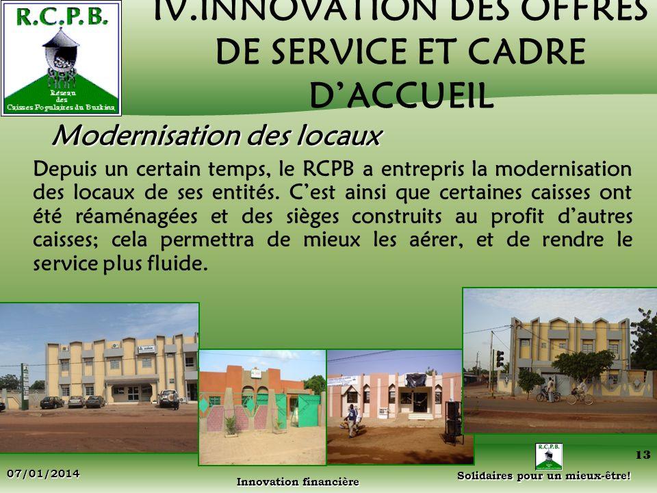 IV.INNOVATION DES OFFRES DE SERVICE ET CADRE D'ACCUEIL