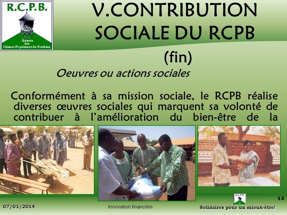 V.CONTRIBUTION SOCIALE DU RCPB (fin)