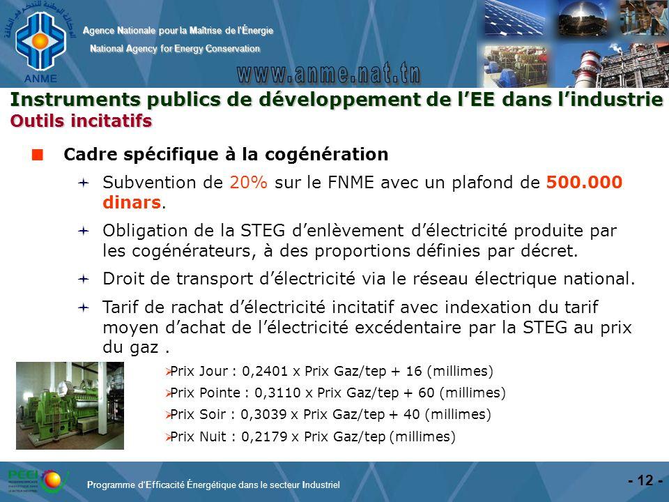 Instruments publics de développement de l'EE dans l'industrie