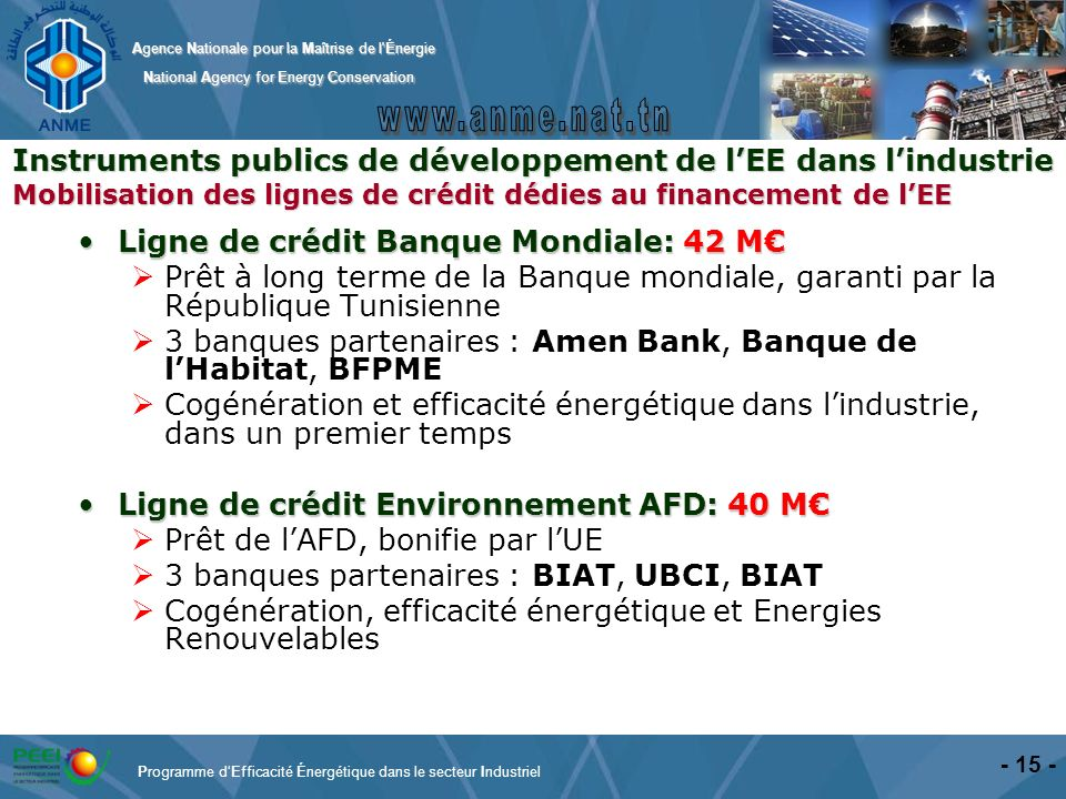 Programme d'Efficacité Énergétique dans le secteur Industriel