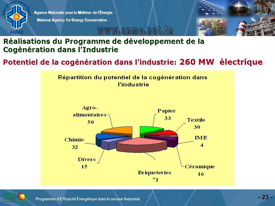Potentiel de la cogénération dans l'industrie: 260 MW électrique