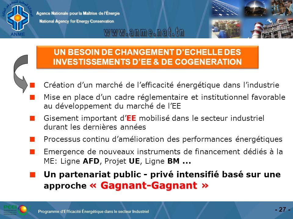 UN BESOIN DE CHANGEMENT D'ECHELLE DES INVESTISSEMENTS D'EE & DE COGENERATION