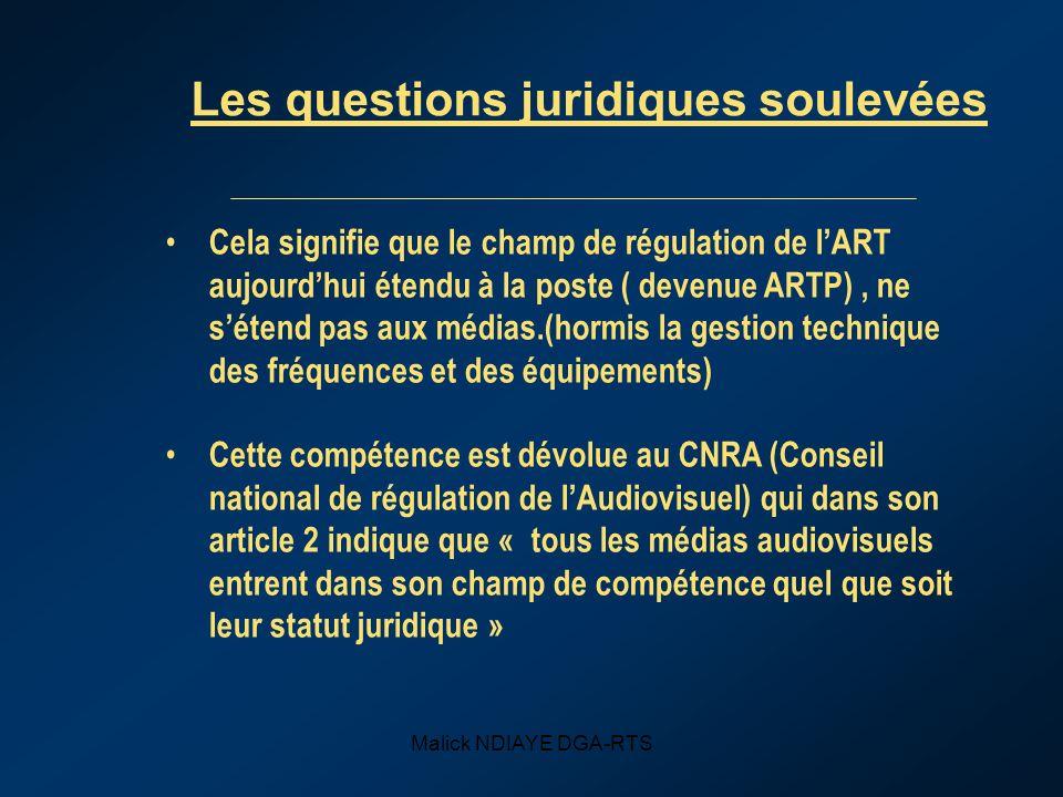Les questions juridiques soulevées