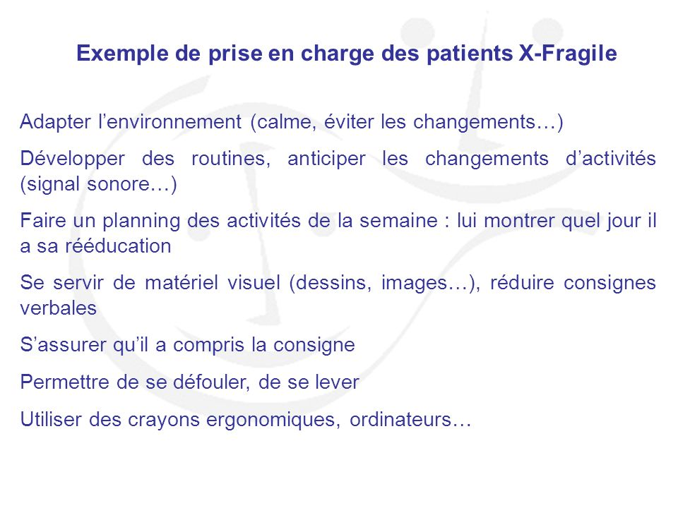 Exemple de prise en charge des patients X-Fragile