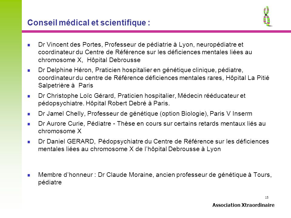 Conseil médical et scientifique :
