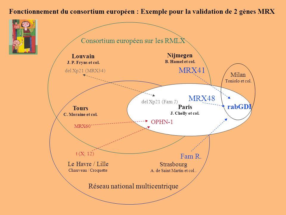 Fonctionnement du consortium européen : Exemple pour la validation de 2 gènes MRX