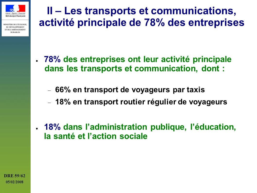 II – Les transports et communications, activité principale de 78% des entreprises
