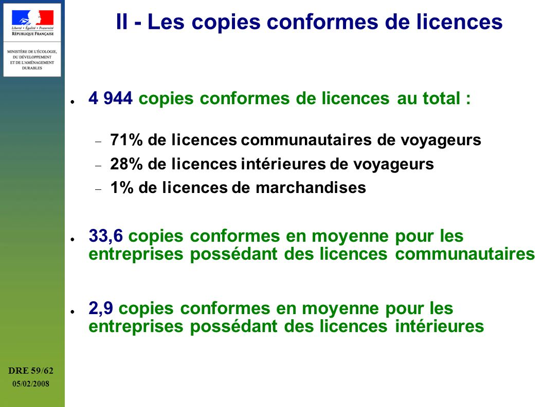 II - Les copies conformes de licences