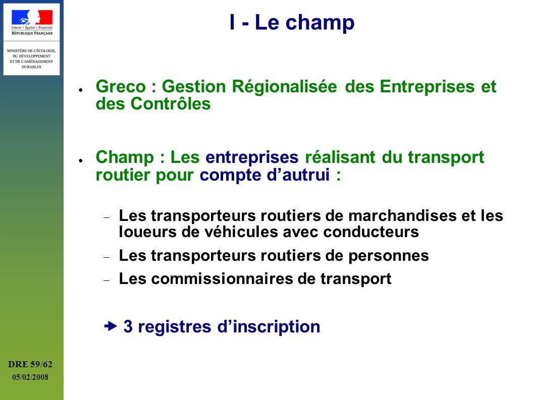 I - Le champ Greco : Gestion Régionalisée des Entreprises et des Contrôles.