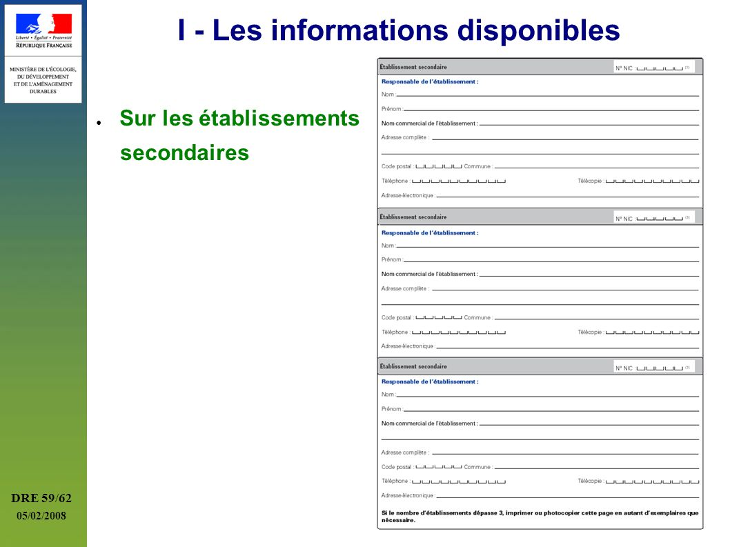 I - Les informations disponibles