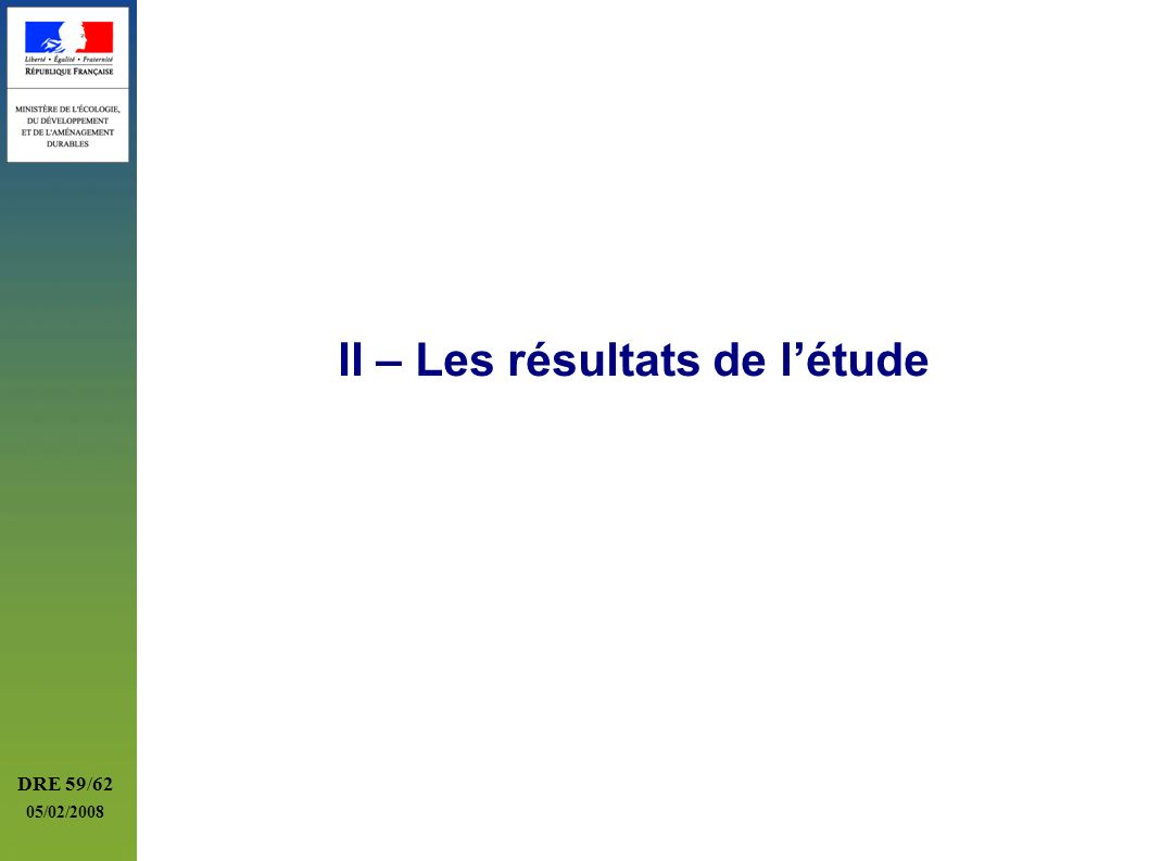 II – Les résultats de l'étude