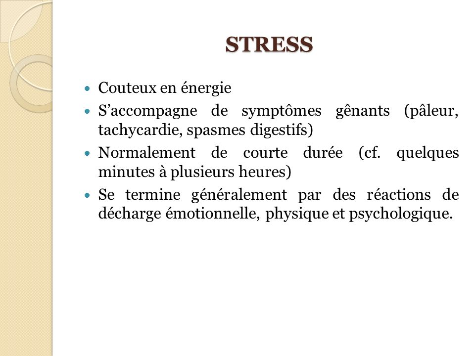 STRESS Couteux en énergie