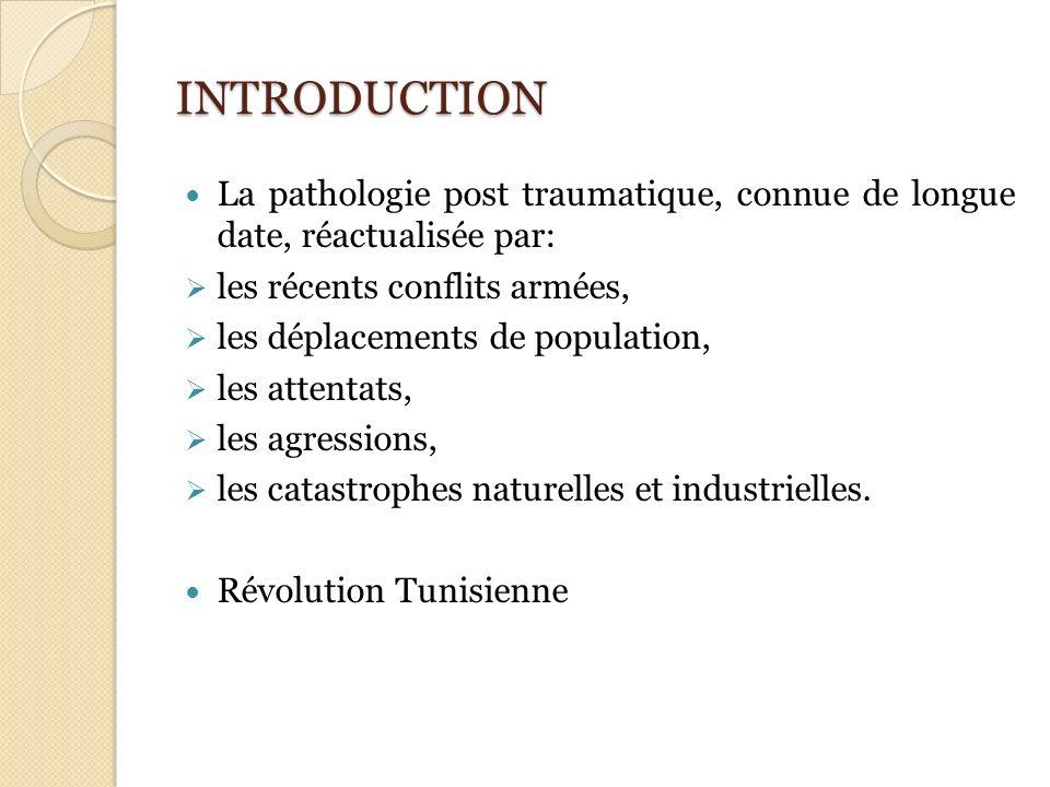 INTRODUCTION La pathologie post traumatique, connue de longue date, réactualisée par: les récents conflits armées,